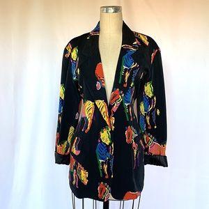 Vintage 80s 90s Zebra Blazer Jacket Bright